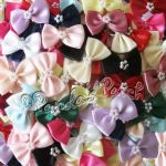 Satin ribbon Bow Ties with Pearls